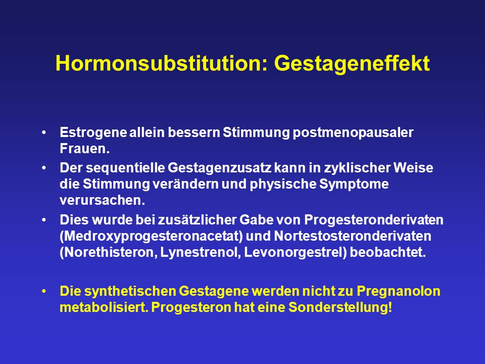 Hormonsubstitution: Gestageneffekt