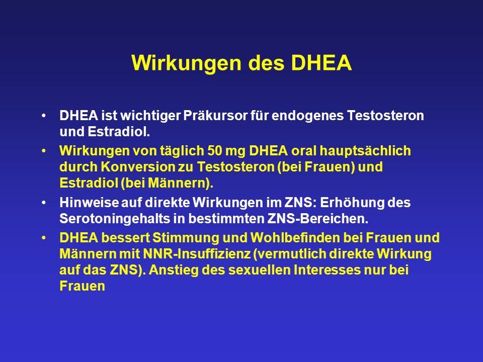 Wirkungen des DHEA DHEA ist wichtiger Präkursor für endogenes Testosteron und Estradiol.