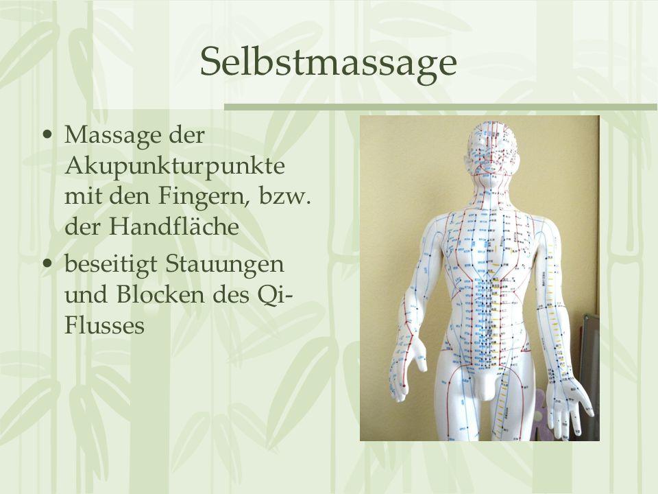 Selbstmassage Massage der Akupunkturpunkte mit den Fingern, bzw.