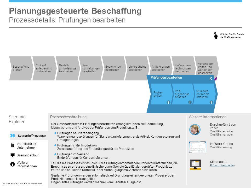 Planungsgesteuerte Beschaffung Prozessdetails: Prüfungen bearbeiten