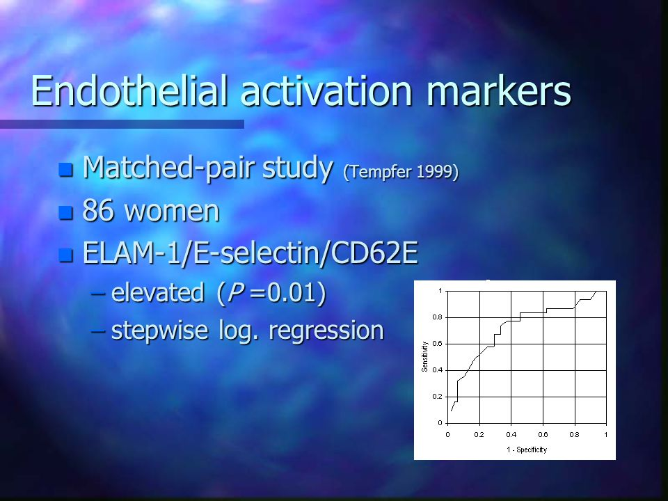 Endothelial activation markers
