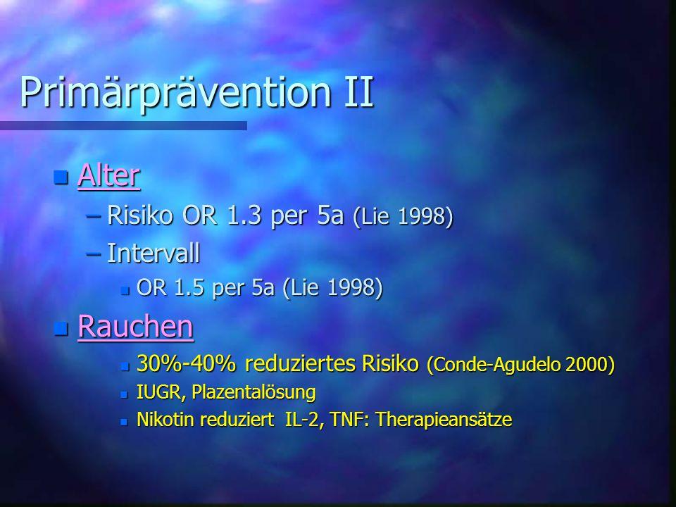 Primärprävention II Alter Rauchen Risiko OR 1.3 per 5a (Lie 1998)