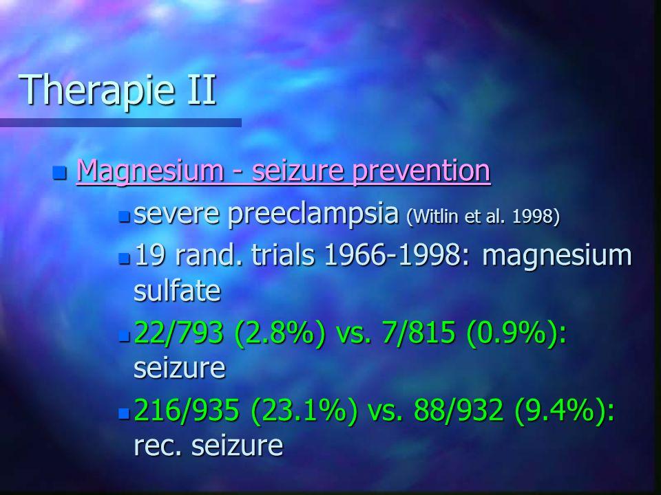 Therapie II Magnesium - seizure prevention