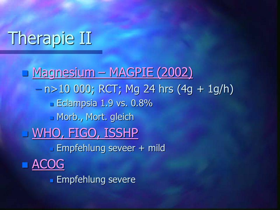 Therapie II Magnesium – MAGPIE (2002) WHO, FIGO, ISSHP ACOG