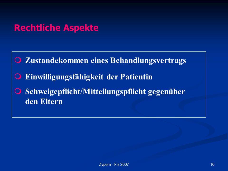Rechtliche Aspekte  Zustandekommen eines Behandlungsvertrags