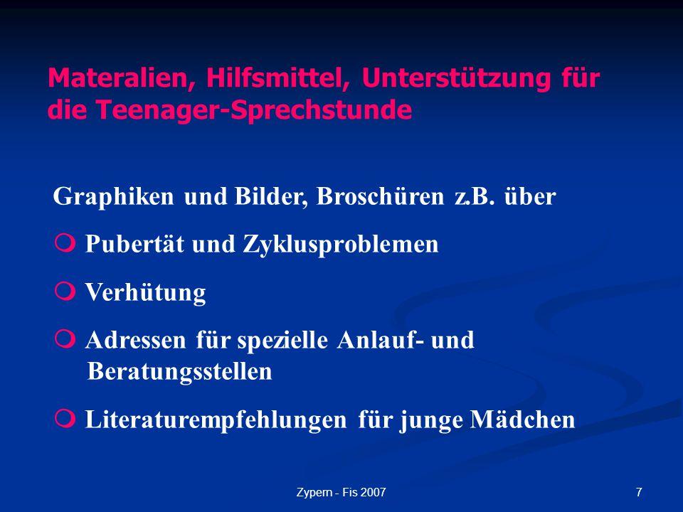 Materalien, Hilfsmittel, Unterstützung für die Teenager-Sprechstunde