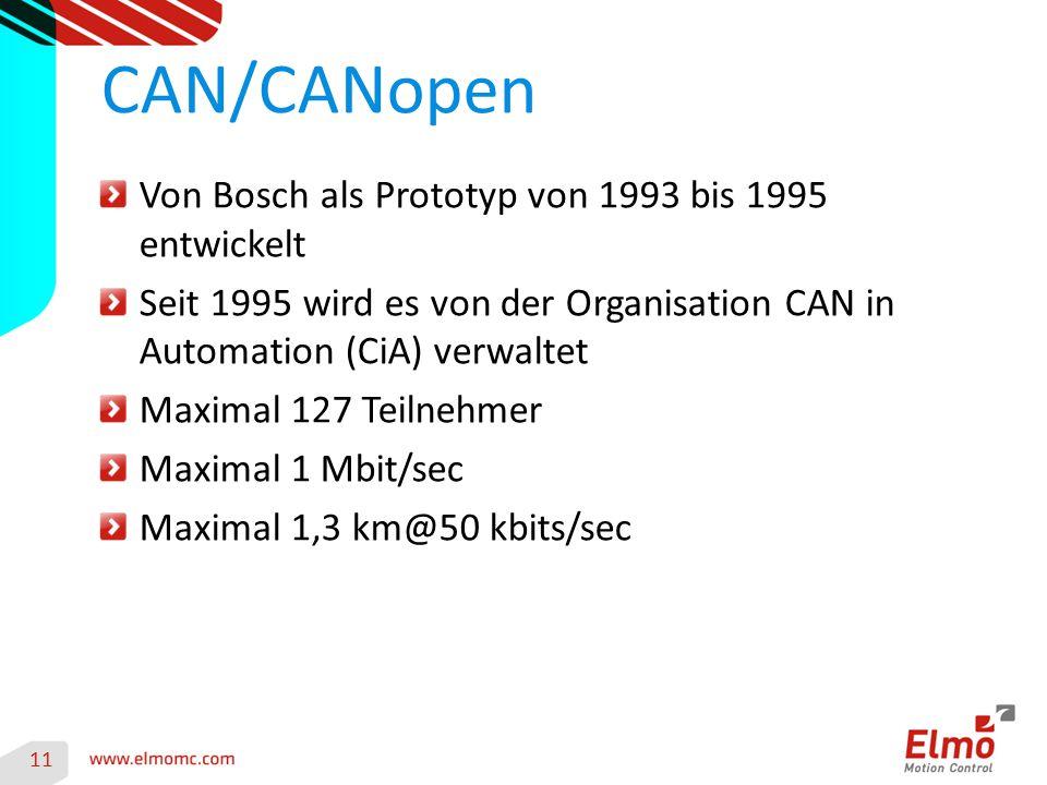CAN/CANopen Von Bosch als Prototyp von 1993 bis 1995 entwickelt