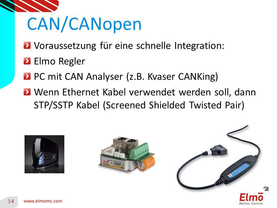 CAN/CANopen Voraussetzung für eine schnelle Integration: Elmo Regler