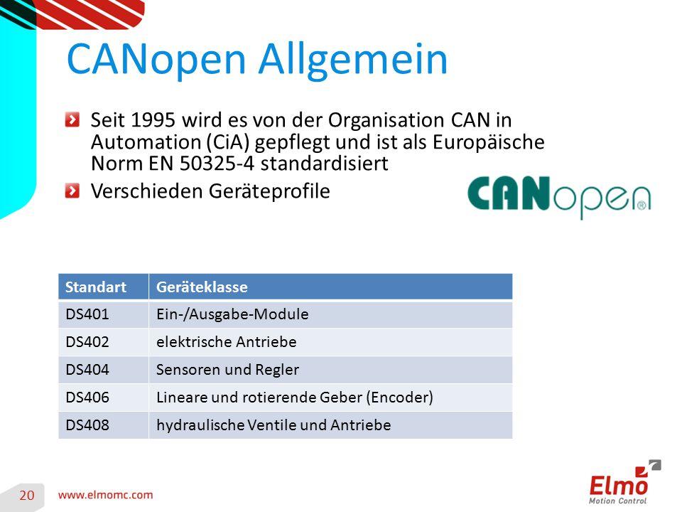 CANopen Allgemein Seit 1995 wird es von der Organisation CAN in Automation (CiA) gepflegt und ist als Europäische Norm EN 50325-4 standardisiert.
