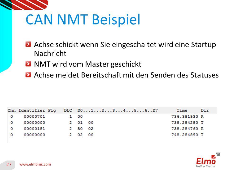 CAN NMT Beispiel Achse schickt wenn Sie eingeschaltet wird eine Startup Nachricht. NMT wird vom Master geschickt.