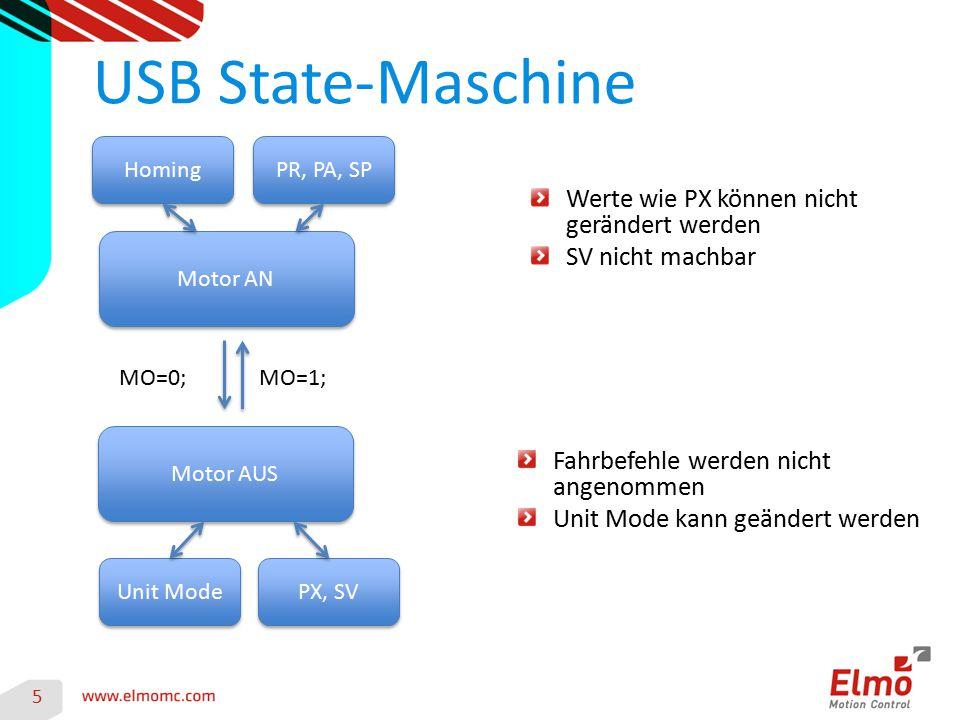 USB State-Maschine Werte wie PX können nicht gerändert werden