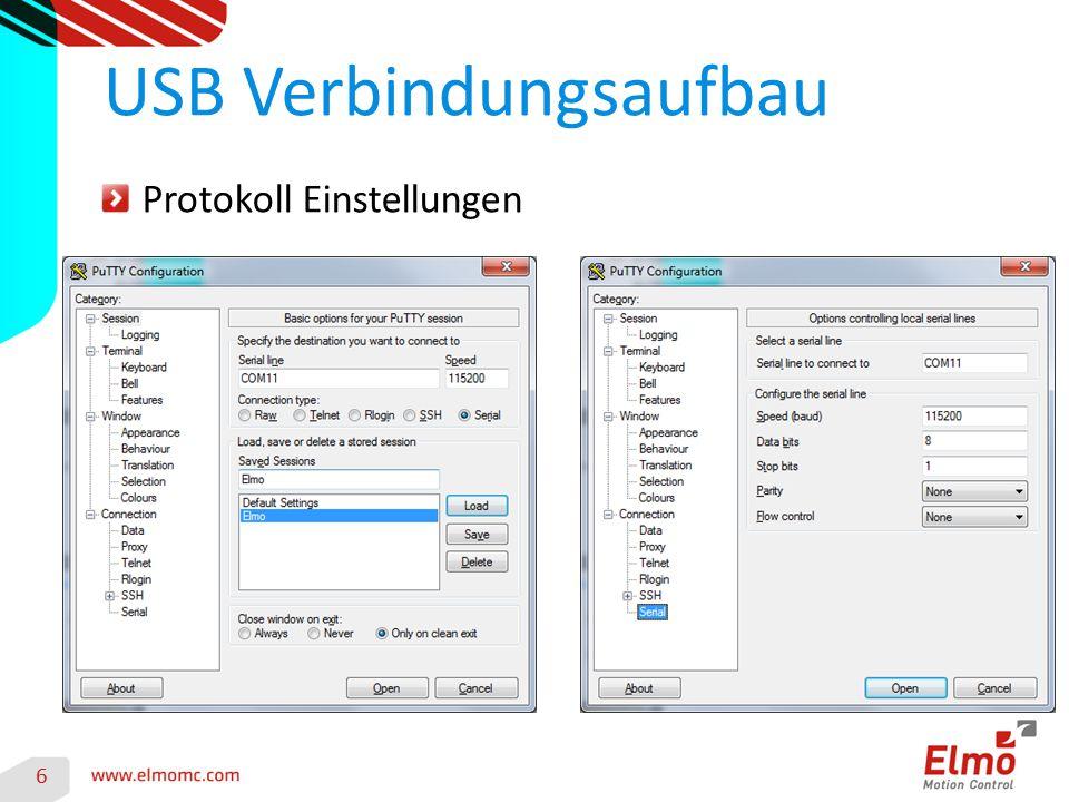USB Verbindungsaufbau