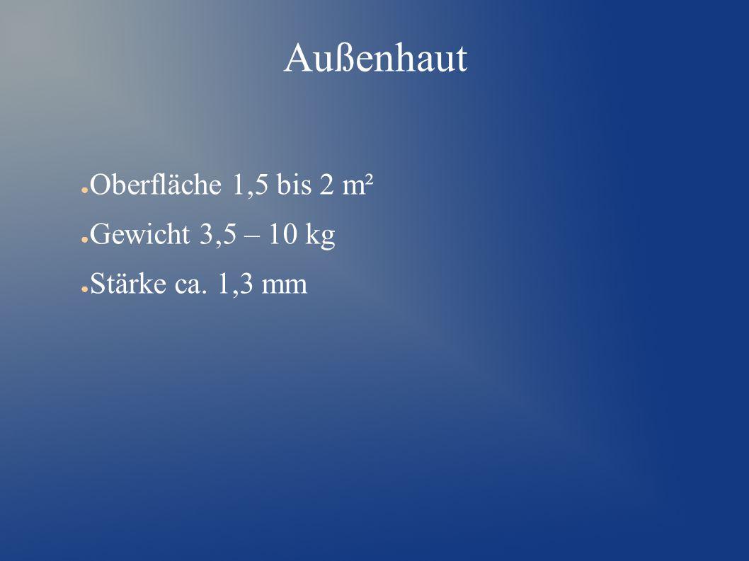 Außenhaut Oberfläche 1,5 bis 2 m² Gewicht 3,5 – 10 kg