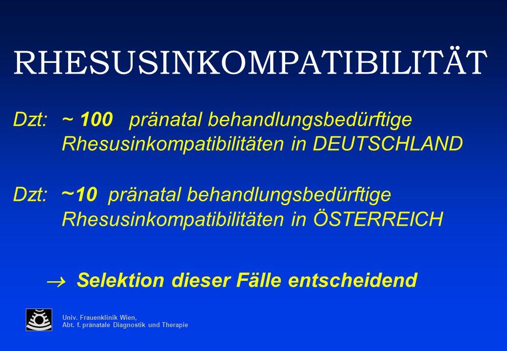 RHESUSINKOMPATIBILITÄT Dzt:. ~ 100 pränatal behandlungsbedürftige