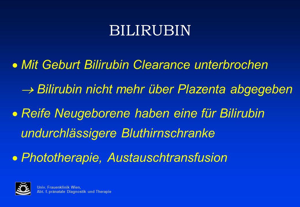 BILIRUBIN · Mit Geburt Bilirubin Clearance unterbrochen