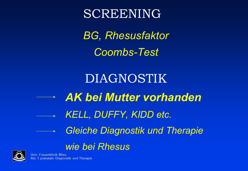 SCREENING DIAGNOSTIK BG, Rhesusfaktor Coombs-Test