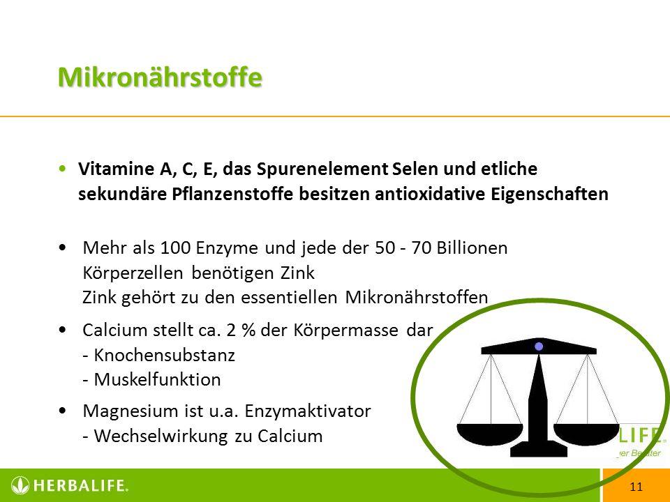 Mikronährstoffe Vitamine A, C, E, das Spurenelement Selen und etliche sekundäre Pflanzenstoffe besitzen antioxidative Eigenschaften.