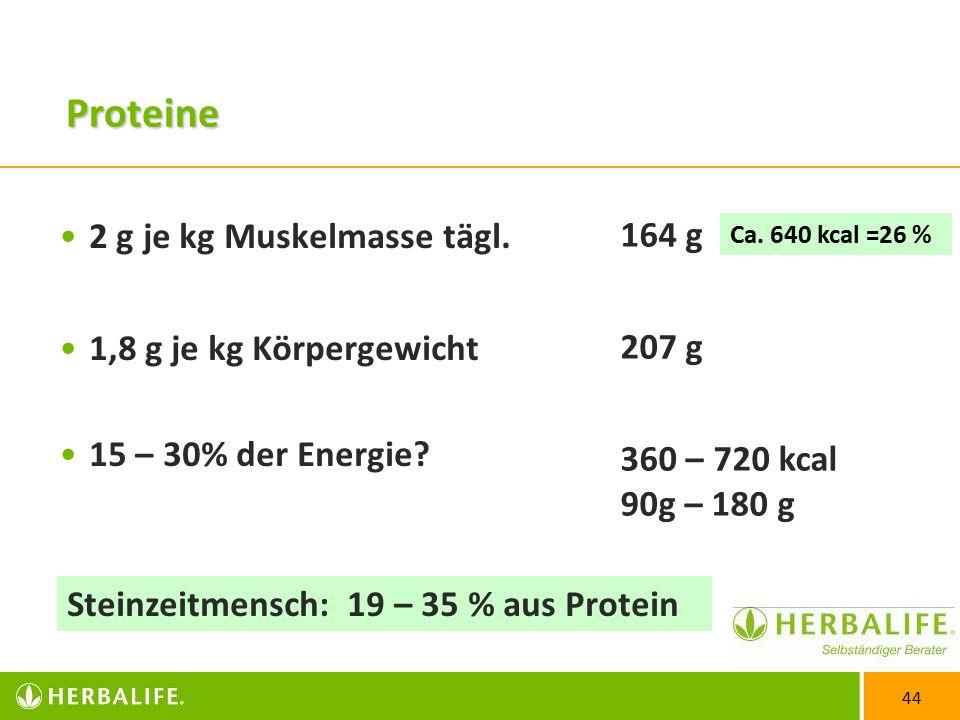 Proteine 2 g je kg Muskelmasse tägl. 164 g 207 g