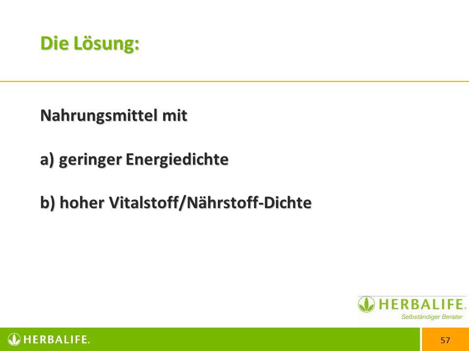 Die Lösung: Nahrungsmittel mit a) geringer Energiedichte b) hoher Vitalstoff/Nährstoff-Dichte
