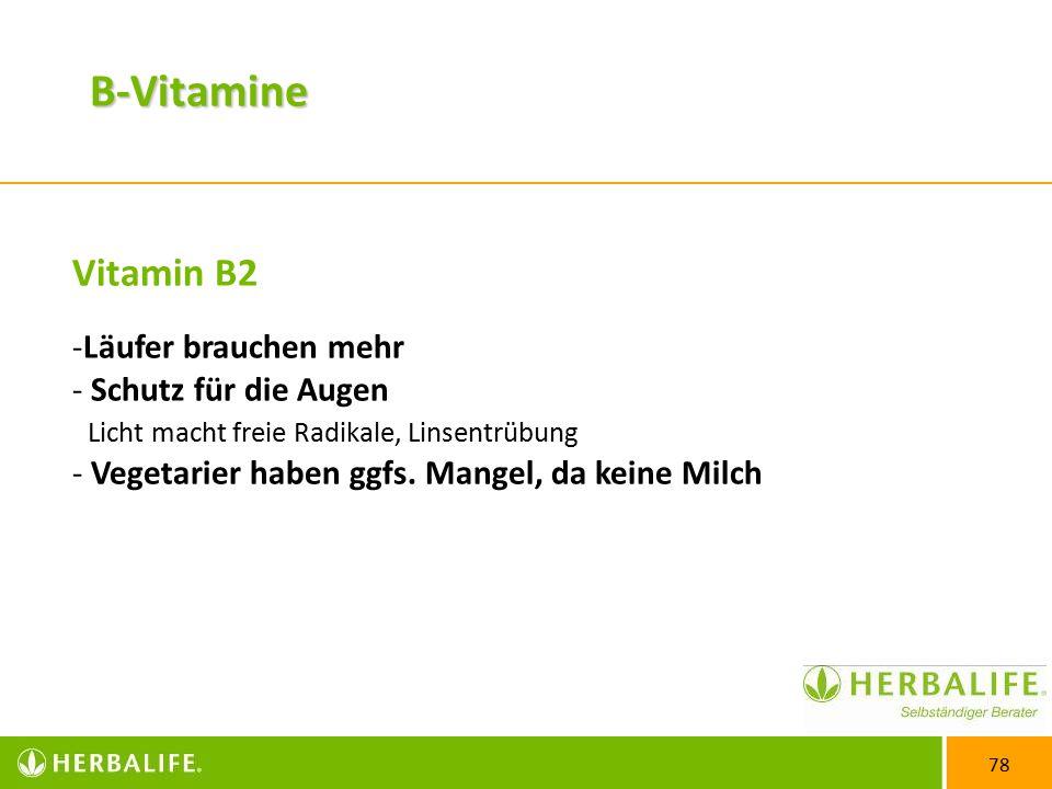 B-Vitamine Vitamin B2 Läufer brauchen mehr