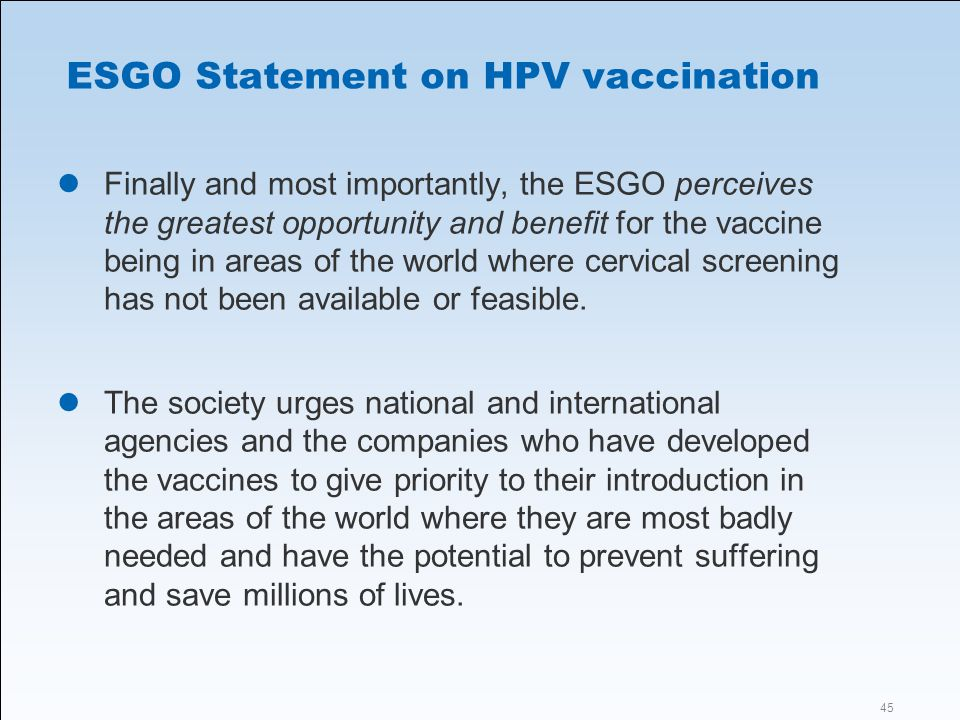ESGO Statement on HPV vaccination