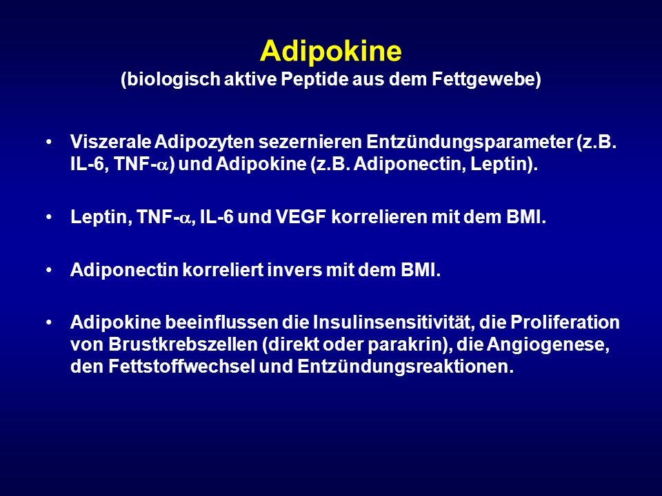 Adipokine (biologisch aktive Peptide aus dem Fettgewebe)