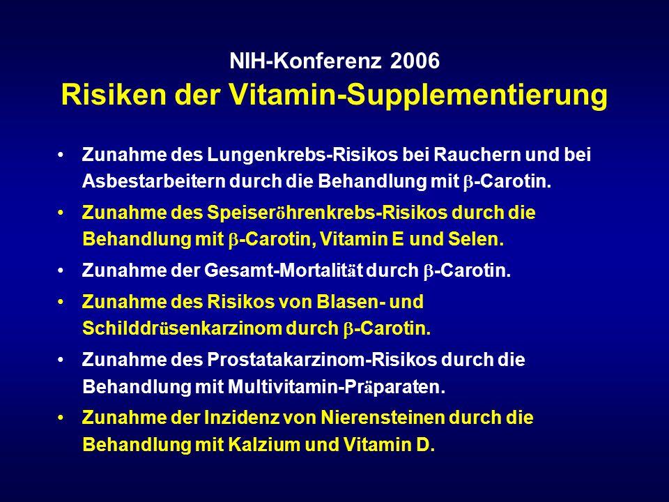 NIH-Konferenz 2006 Risiken der Vitamin-Supplementierung