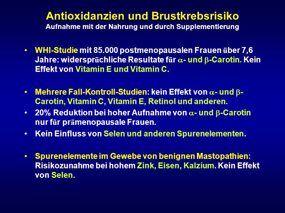 Antioxidanzien und Brustkrebsrisiko Aufnahme mit der Nahrung und durch Supplementierung