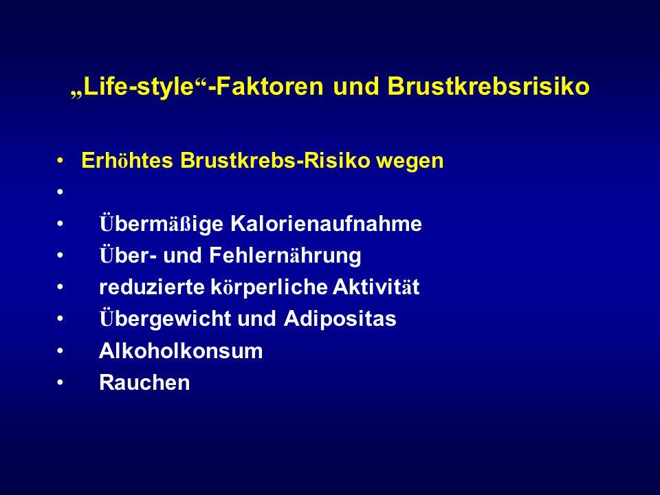 """""""Life-style -Faktoren und Brustkrebsrisiko"""