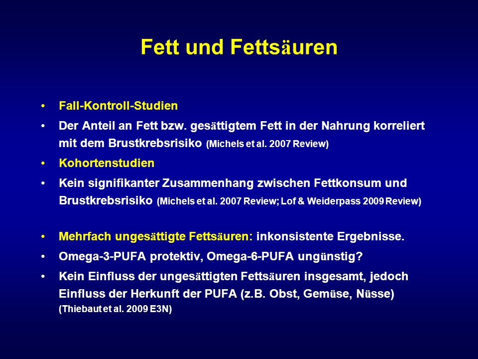 Fett und Fettsäuren Fall-Kontroll-Studien