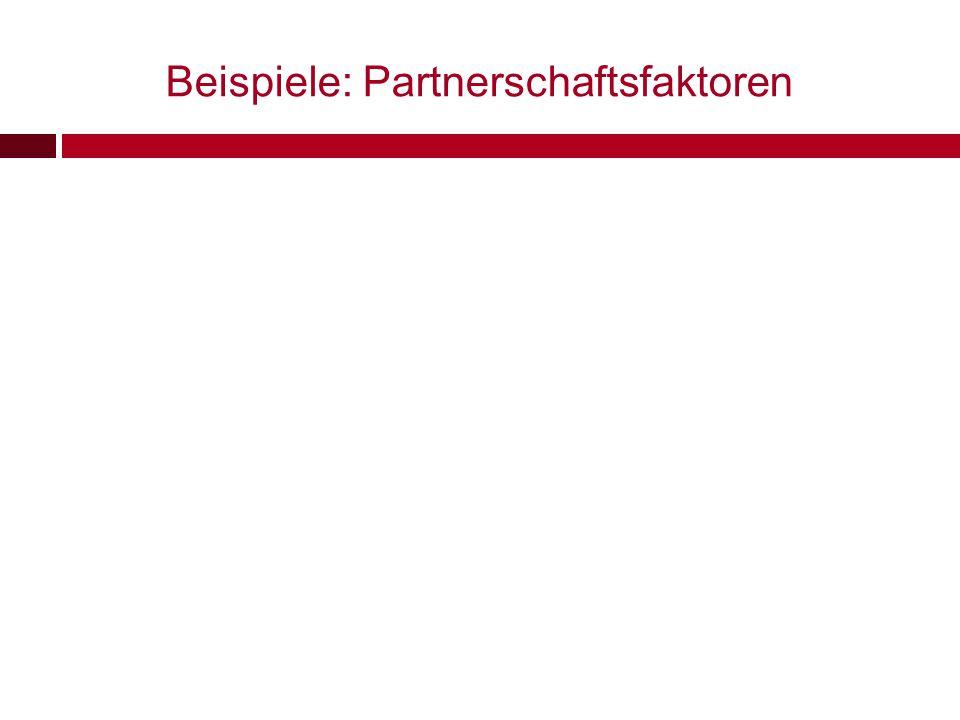 Beispiele: Partnerschaftsfaktoren
