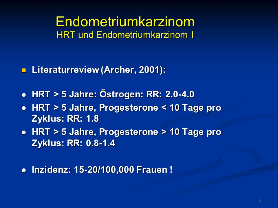 Endometriumkarzinom HRT und Endometriumkarzinom I