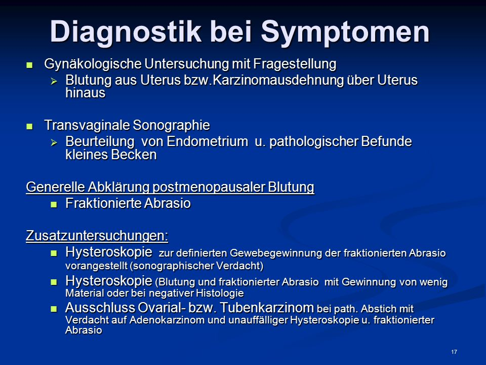 Diagnostik bei Symptomen