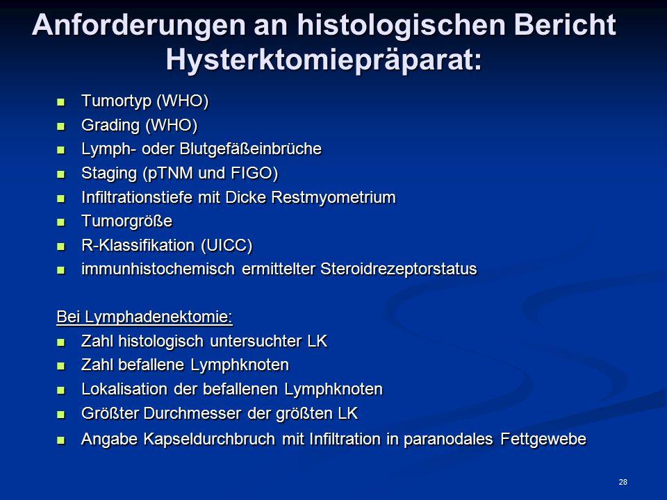 Anforderungen an histologischen Bericht Hysterktomiepräparat: