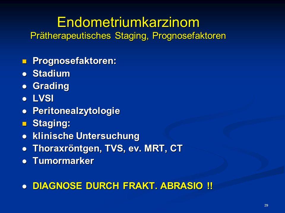 Endometriumkarzinom Prätherapeutisches Staging, Prognosefaktoren