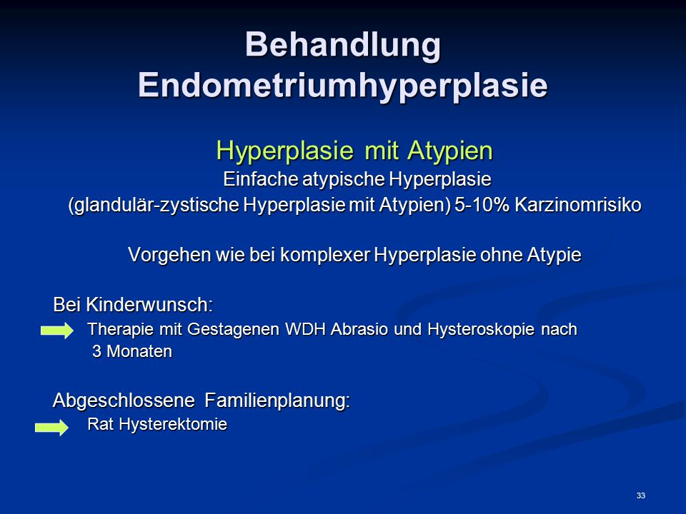Behandlung Endometriumhyperplasie