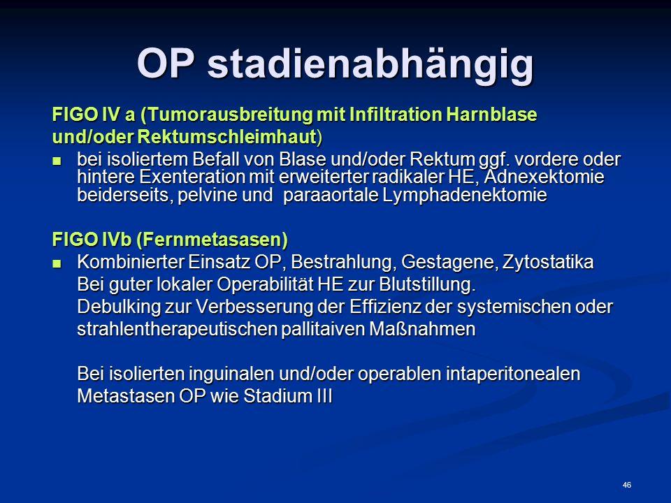 OP stadienabhängig FIGO IV a (Tumorausbreitung mit Infiltration Harnblase. und/oder Rektumschleimhaut)