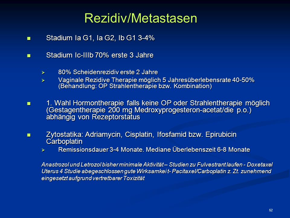 Rezidiv/Metastasen Stadium Ia G1, Ia G2, Ib G1 3-4%