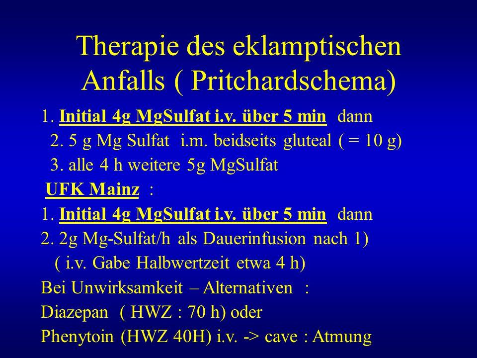 Therapie des eklamptischen Anfalls ( Pritchardschema)