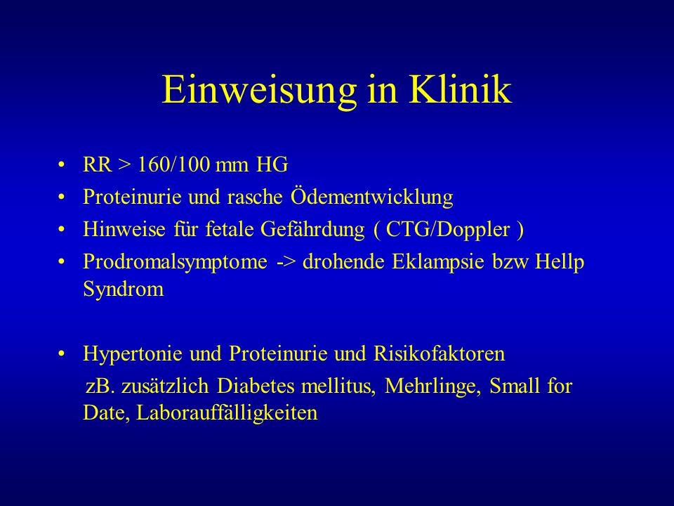 Einweisung in Klinik RR > 160/100 mm HG