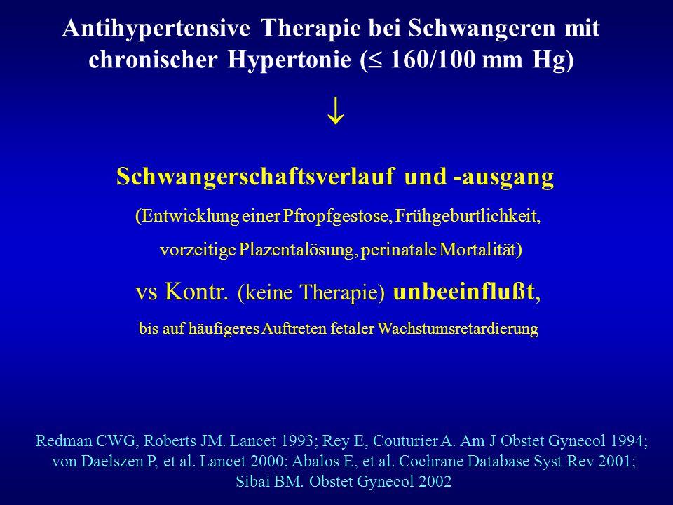 Antihypertensive Therapie bei Schwangeren mit chronischer Hypertonie ( 160/100 mm Hg)