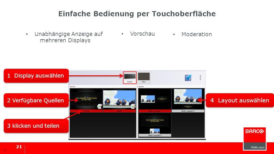 Einfache Bedienung per Touchoberfläche