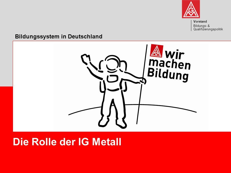 Die Rolle der IG Metall Bildungssystem in Deutschland Vorstand