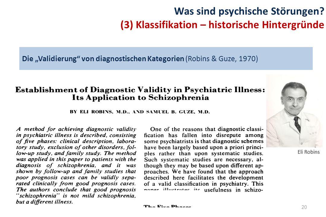 """Die """"Validierung von diagnostischen Kategorien (Robins & Guze, 1970)"""