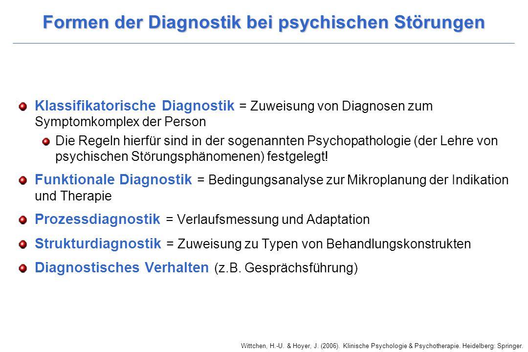 Formen der Diagnostik bei psychischen Störungen