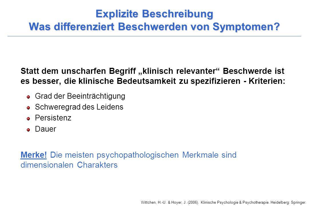 Explizite Beschreibung Was differenziert Beschwerden von Symptomen