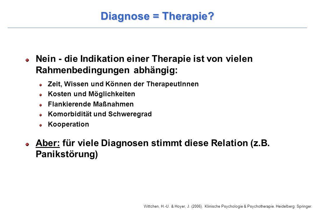 Diagnose = Therapie Nein - die Indikation einer Therapie ist von vielen Rahmenbedingungen abhängig: