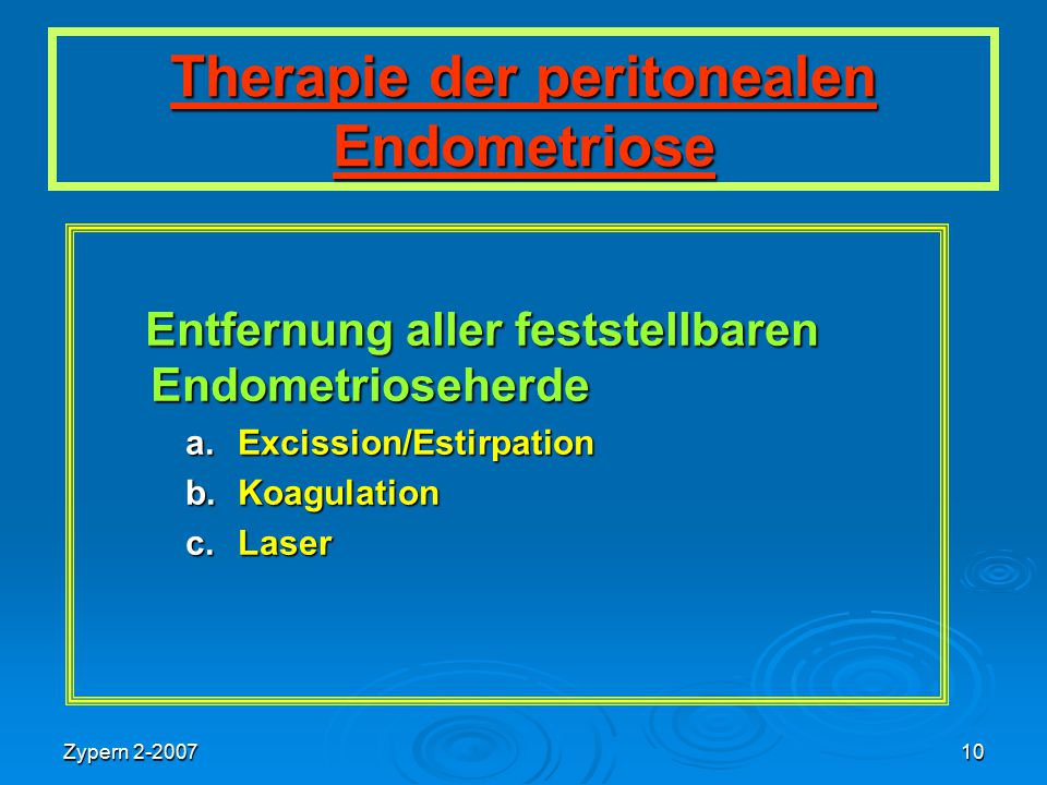 Therapie der peritonealen Endometriose