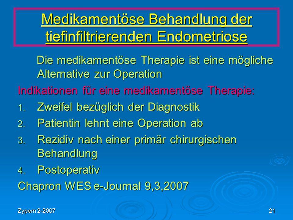 Medikamentöse Behandlung der tiefinfiltrierenden Endometriose