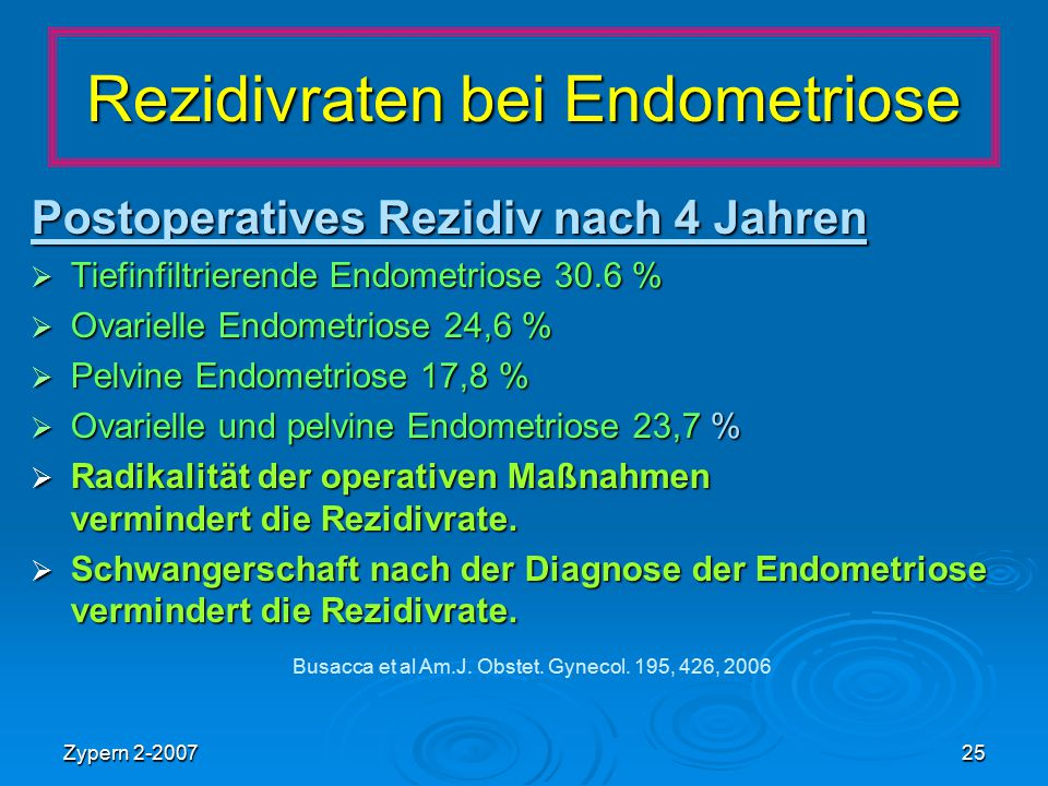 Rezidivraten bei Endometriose